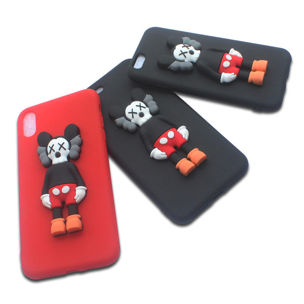Cartoon 3D Kaws Mickey Toy Silicone Cover Case For iPhone 6 6s 7 8 Plus X Xr Xs Max Matte Finished Anti Fingerprint