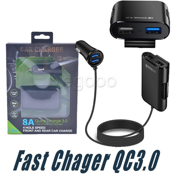 New 4 Port USB QC 3.0 Car Charger For Front Back Seat With Extension Cable For Samsung HTC One A9 LG Xiaomi