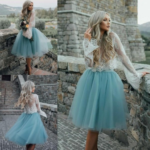 2019 New Cheap Homecoming Dresses Long Sleeve Lace Blue Tulle Two Pieces  Prom Gowns A Line Knee Length Cocktail Dresses Gowns Dress Homecoming Dance