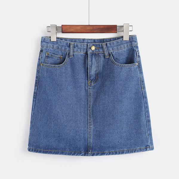 Venta al por mayor Empire Jeans A-Line Womens Denim Falda Casual Cómodo Sexy Jeans Faldas Slim Zip Vintage Plus Size Faldas Verano 2018