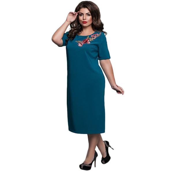 Vestido bordado de tamaño sólido grande Cena de oficina Fiesta Casual suelta Damas Mujeres Vestido bordado de flores ropa de diseñador