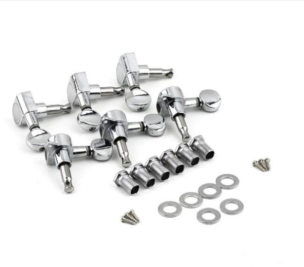 Accessories 6R Right 6L Left 3L+3R String Tuning Pegs Tuners Tuner Chrome Inline Guitar Machine Head Parts 6R Right DHL shipping