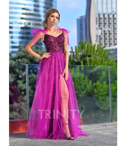 Shinning Purple Tulle V-Neck Embroidery Evening Dresses Special Occasion Party Dresses Prom Dresses Homecoming Custom Size 2-18 KF1221256