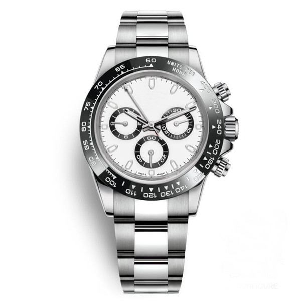 Relojes Mens Relógios de Cerâmica Bezel Moda Dial Branco Pulseira Fecho Dobrável Masculino Todos Os 3 Mostradores Trabalham A Função completa Relógios De Pulso Relógio Dia