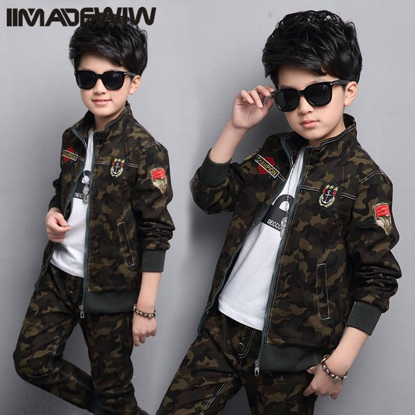 Boy and girls' camouflage suits 2017 new children's clothing spring uniforms Korean version of the spring children in the two- CJ191205