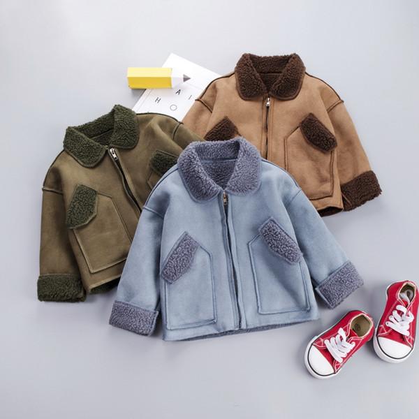2019 Sonbahar Kış Bebek Boys Coat Çocuklar Sahte Kuzu Yün Sıcak Coat Baby Boy Çocuk Dış Giyim Fermuar Ceket Palto 15277