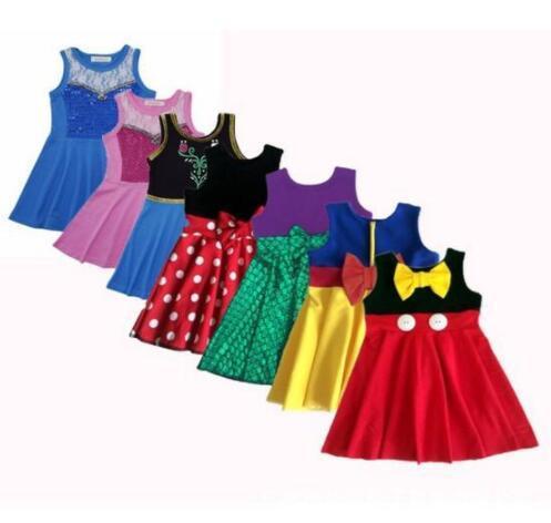 Ropa de niñas vestido de princesa Ropa para niños, vestidos de cumpleaños vestido de traje de sirena Princesa Fiesta Cosplay vestido de verano KKA6854