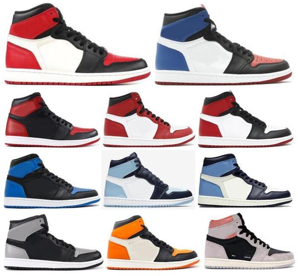 Box İle Yeni 1 Yüksek OG Bred Burun Chicago Yasaklı Oyun Kraliyet Basketbol ayakkabı erkekler 1s İlk 3 Shattered Arkalık Gölge Obsidian Spor Ayakkabılar