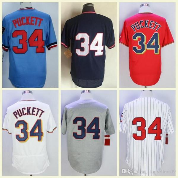 M&N Baseball Jerseys Cheap Retro Minnesota Kirby Puckett Jersey 1969 1987 1991 34 Kirby Puckett Womes Kids Stitched