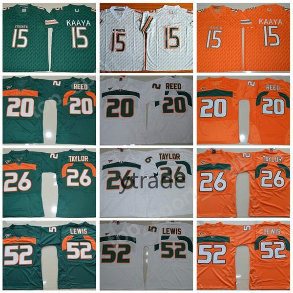 NCAA Brad Kaaya Jerseys Miami Hurricanes College Football 20 Ed Reed 52 Ray Lewis Jersey ACC Orange Green White 26 Sean Taylor S-3XL