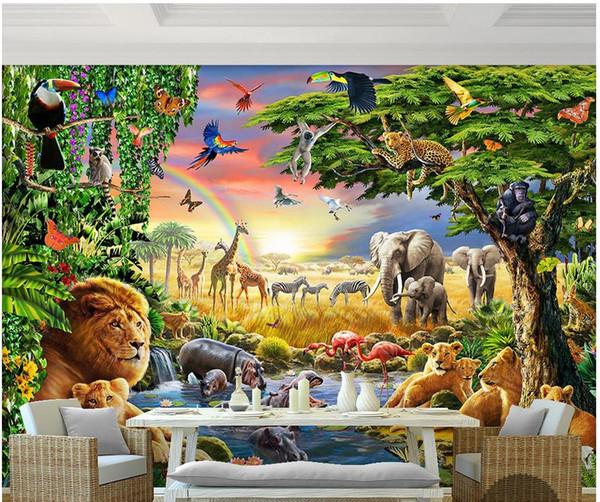 3d murale murale carta da parati arcobaleno verde boschi pappagallo elefante animale bambini pittura camera decorativa carta da parati all'ingrosso