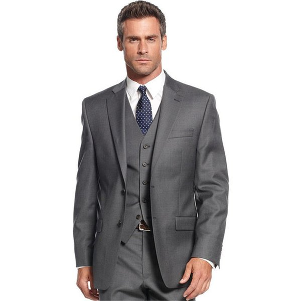 Classic Style Grey Men Suits For Business Men Office Wear Tuxedos Groomsmen Men Wedding Suits ( jacket+Pants+vest+tie)