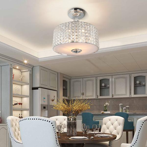 Crystal ceiling light diameter 42cm chrome/black vintage led light ceiling for living room bedroom hallway foyer balcony ceiling lamp