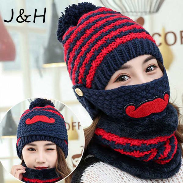 Cute Winter Women Stripe Knit Crochet Beanie Hat Scarf Mask Wool Thickening Warm Hat Outdoor Ski Windshield Gift