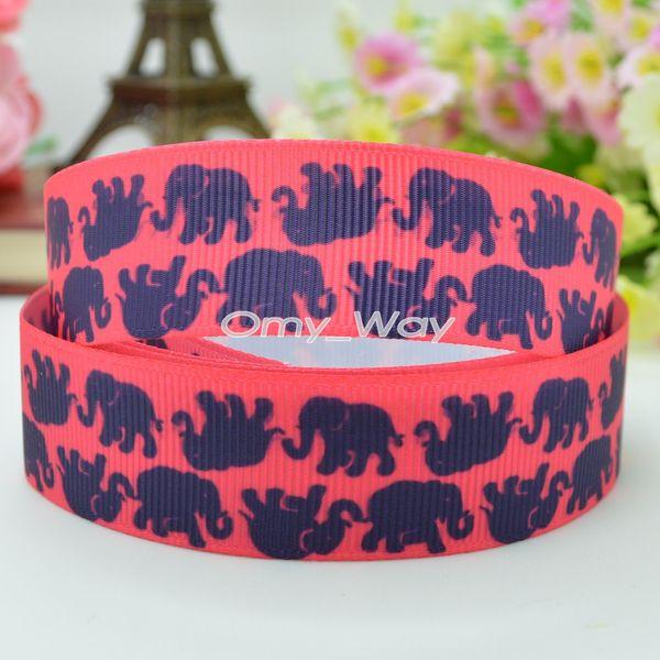 "Lilly Ribbons 7/8"" 22mm Cute Elephant Printed Grosgrain Ribbon Hair Bow DIY Handmade Crafts Ribbon Print 50Yards"
