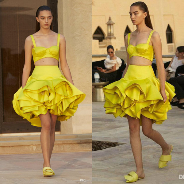Ashi Studio Yellow Homecoming Dresses Two Pieces Spaghetti Straps Ruffle Tutu Skirt Satin Cocktail Gowns 2020 Short Party Prom Dress