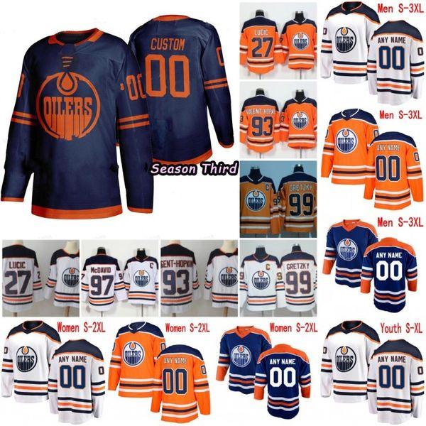 Personnalisés Oilers d'Edmonton 2019 NOUVEAU Navy Blue Third Jersey personnalisés tout nom Nombre Hommes Femmes enfant jeunesse Blanc Orange McDavid Gretzky Neal 4XL