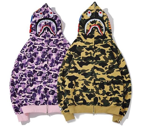 Nouveau motif Sweat à capuche pour hommes A Bathing AAPE Ape Shark Hoodie à capuche Manteau Camo Full Zip Jacket Camouflage Hoodies
