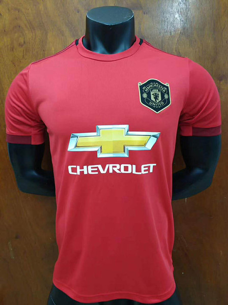 2019 20 home rosso 3 ° nero United Thailand Soccer Jersey 6 POGBA 9 LUKAKU 7 ALEXIS 18 19 Embroidery Logo soccer jersey