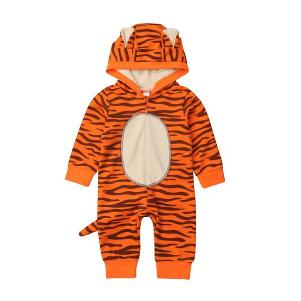 Милые унисекс детская одежда тигр комбинезон с хвостом животных цельный комбинезон с длинными рукавами молния комбинезон с капюшоном наряды одежда J190524