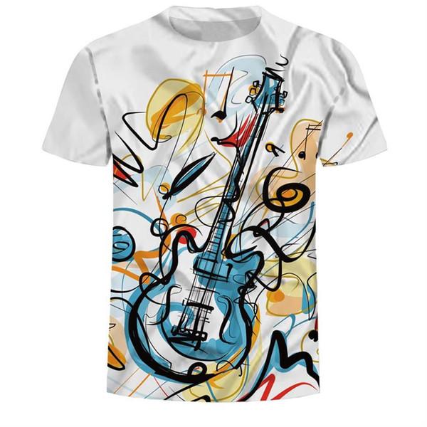 2019 Casual Clothing 3d painting T Shirt Men T-shirt Rock Guitar Print Summer Happy best Music Festival T-shirt Top Tee Size 3XL