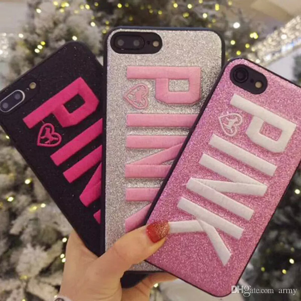 PINK Cover Fashion Design Glitter 3D Embroidery Love Pink Phone Case For iPhone XS, iphone XR Xmas iPhone 8 for Samsung S9 S9 plus 9+