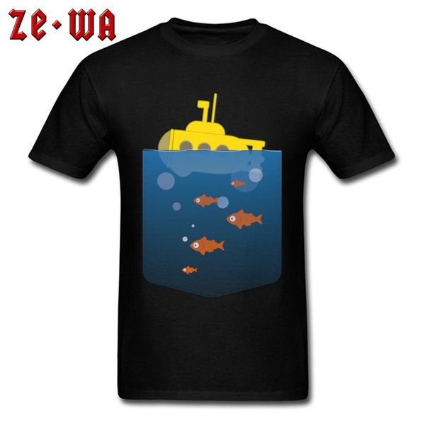 Cool Pocket Submarine T Shirt For Man Creative Design T-shirt Students Novelty Tshirts Cotton Tops Graphic Tee Clothes Black