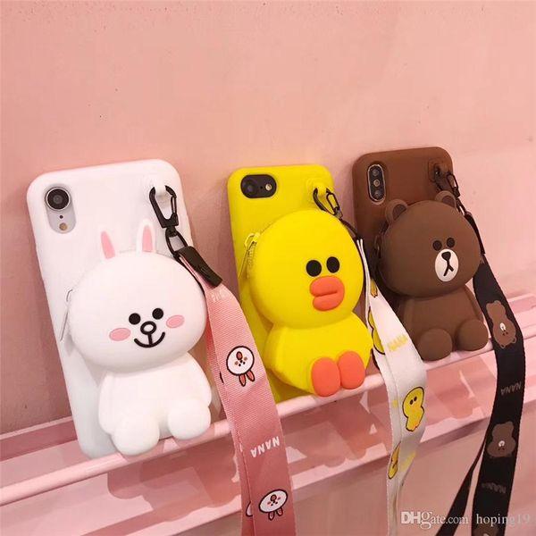 Hot vente mignon de bande dessinée 3D ours Cony Sally portefeuille cas de téléphone pour iPhone 6 6s plus 7 8 plus X XR XS Max doux couverture arrière en silicone Coque Funda