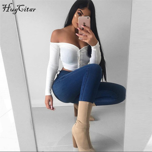 Hugcitar Long Sleeve Slash Neck Sexy Button Crop Tops T Shirts 2018 Autumn Winter Women New Fashion T-shirts J190427