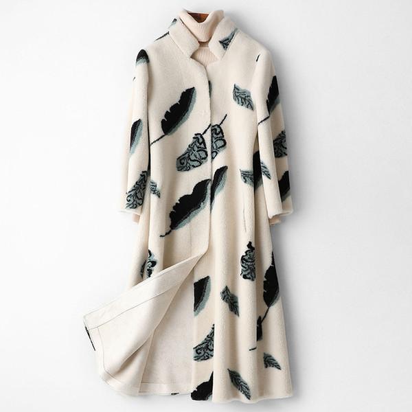 wool fur women autumn winter composite fur one piece coat print long thick warm half sleeves mandarin collar casual jackets