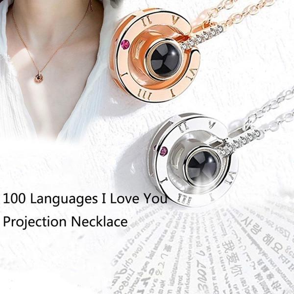 IKAXON 100 línguas Eu te amo Projeção Colar de Pingente de Amor Romântico Memória Colar de Casamento Acessórios de Jóias