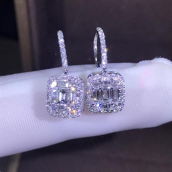 top popular Hot Sale New 2019 Luxury Jewelry 925 Sterling Silver T Shape White Topaz CZ Daimond Women Wedding Gemstones Earring Hook For Lovers' Gift 2021