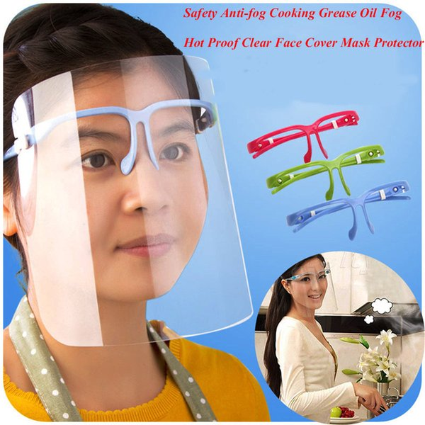 Hot Sale Novelty Safety Kitchen Cooking Anti-Oil Splash Clear Face Cover Mask Protector Kitchen Accessories 3 colors