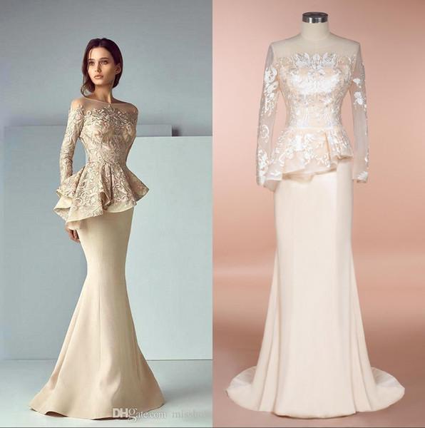 Manches longues en dentelle Top Mère des robes de mariée 2020 Champagne Taille Plus Peplum sirène étage longueur mères robes image réelle