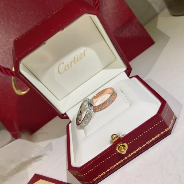 Anello con diamanti Anello intarsiato in argento con zirconi Anello femminile con gioielli di lusso