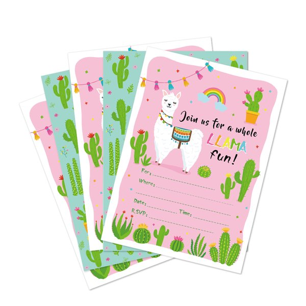 Compre Kawaii Alpaca Cactus Fiesta De Cumpleaños Invitaciones Tarjetas Boda Baby Shower Invitaciones De Dibujos Animados Fiesta Infantil Favores