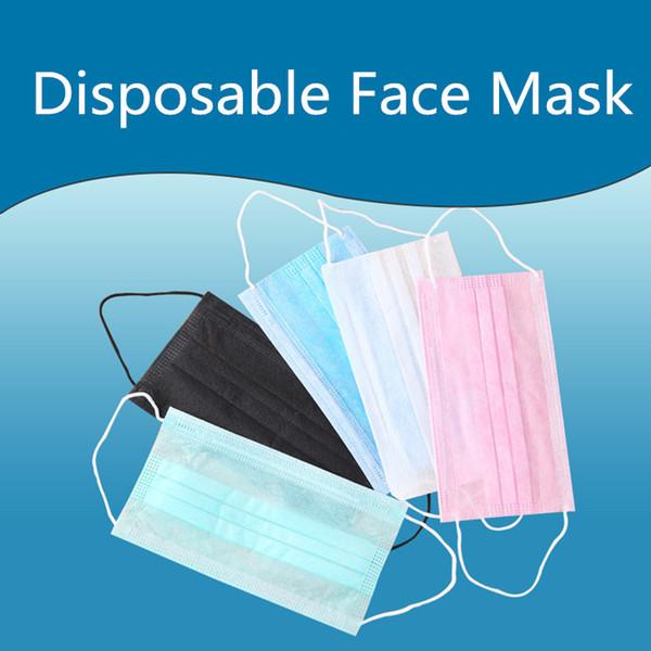 Nouveau visage bouche masques 3 couches anti-poussière visage protection de protection masques anti-poussière jetables salon earloop bouche masques T2F5010