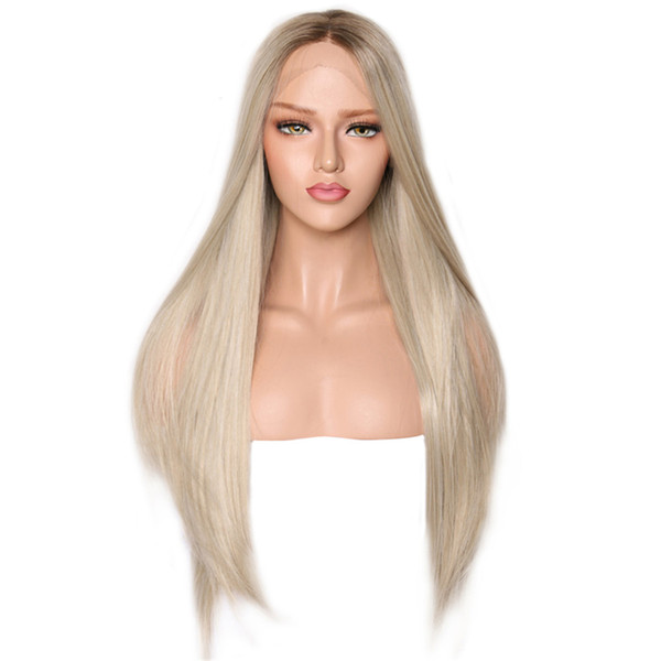Free Shipping Natural Hairline Long Straight Wig Synthetic Lace Front Wigs With Dark Roots Ombre Blonde Wig 24 Inches High Temperature Hair