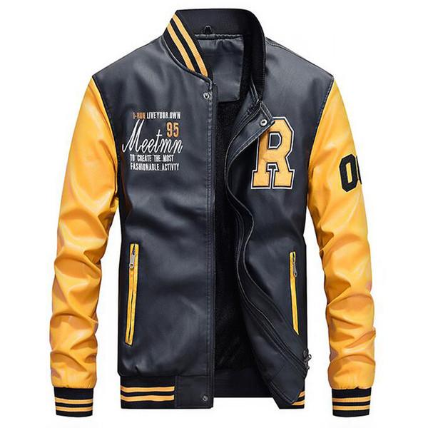 Veste En Cuir Hommes Casual Polaire Épaissir Faux Cuir Manteaux College Basebal Moto Biker Bomber Vestes Jaqueta De Couro Masculino