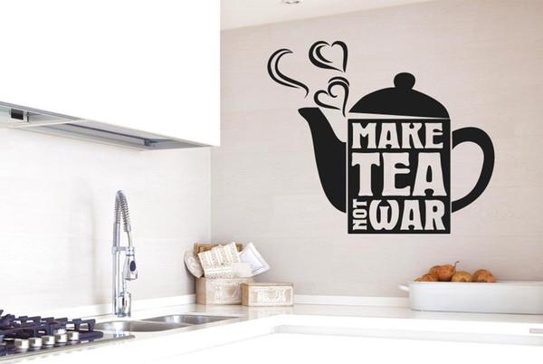 Mutfak Duvar Çıkartması Çaydanlık Kalp Vinil Duvar Etiketler Alıntılar Çay Değil Savaş Çıkarılabilir Modern Tasarım Sanat Duvar Ev Dekorasyonu Yap