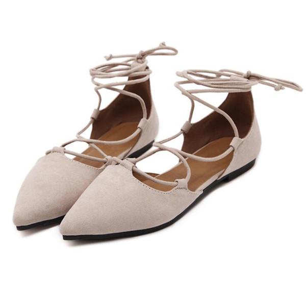 COVOYYAR 2019 Knöchelriemen Frauen Ballerinas Frühling Sommer Spitz Gladiator Damen Schuhe Kreuz Gebunden Freizeitschuhe WFS827