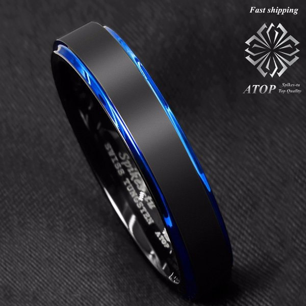 6mm Men's Wedding Band Tungsten Carbide Ring Black Brushed Blue Stripe Free Shipping Y19052201