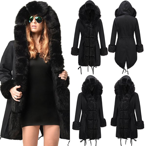 Womens Hooded Faux Fur Lined Warm Coats Parkas Anoraks Outwear Winter Long Jackets 2 Colour Size(S-2XL)AA0941