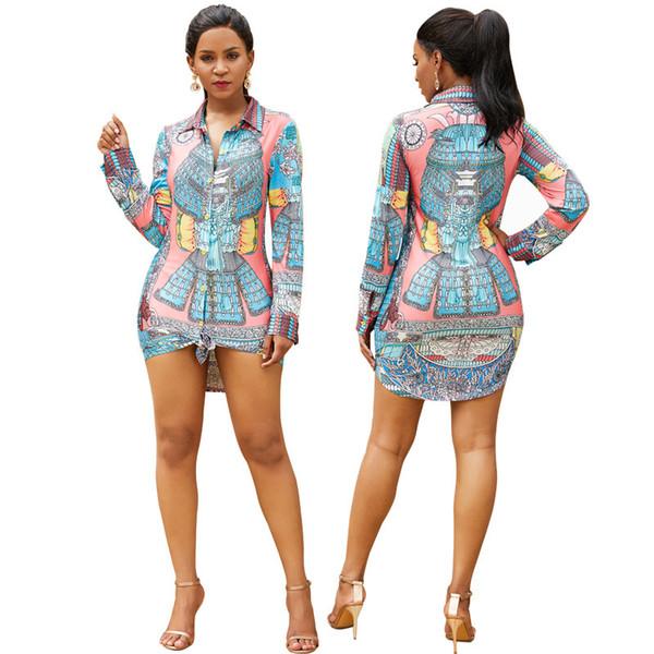 Compre 2019 Primavera Verano Mujer Camisa Casual Vestido Estilo Boho Botón Arriba Impresión Floral Mini Vestido De Manga Larga A 1709 Del