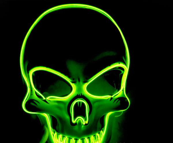 Cráneo de Halloween Luz LED Máscara luminosa Creative Light Up Party Neon Cosplay Herramientas de disfraces Party Horror Glowing Dance Masks