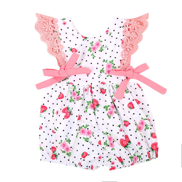 Adorable Lovely Toddler Cute Infant Kids Baby Girls Strawberry Bandage Cotton Rompers Jumpsuit Outfits Clothes Summer