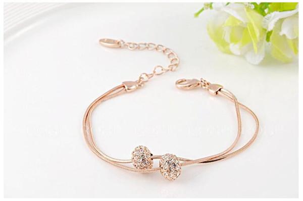 Joyería de lujo del diseñador del brazalete del Rhinestone del oro de Rose - pulseras extensibles del encanto de las gotas de la manera para las mujeres de las muchachas Pulseras Mujer