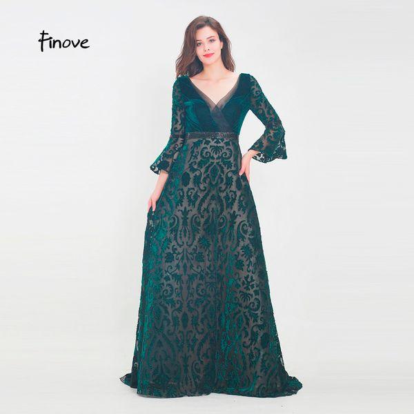 Finove Robe De Soirée 2019 Longueur De Plancher Vintage Velours Col En V Tulle Fleurs Motif Chic De Volants Manches Robe De Soirée De soiree13850
