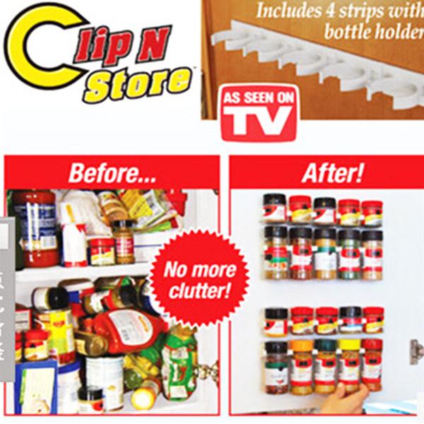 Clip N Store Home Cucina Organizer Stick Spice Rack Storage Gripper Holder Gadget da cucina Strumenti di cottura 4PCS / SET 20 Cabinet VF0006