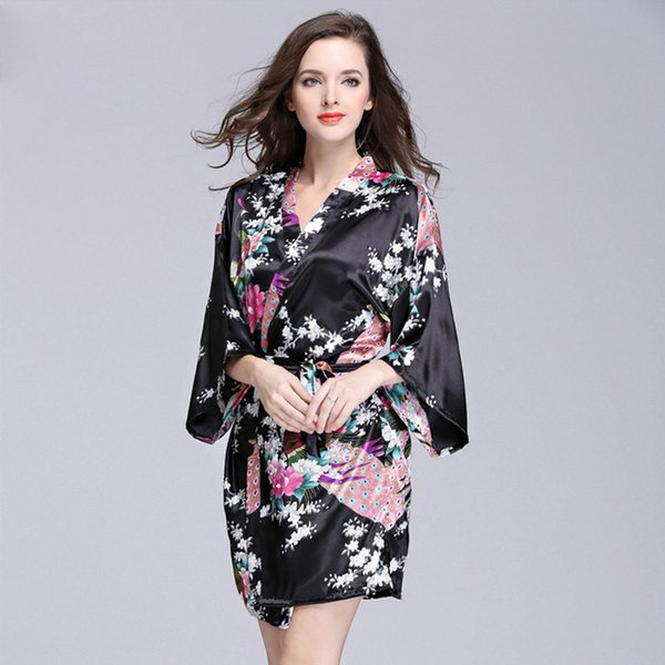 Women Satin Short Nightgown Kimono Robe New Silk Bathrobe Floral Pajamas For Wedding Bride Bridesmaid Dress Gown Mujer S-XXL